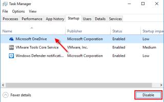 Как исправить высокую загрузку процессора с помощью OneDrive EXE в Windows 10