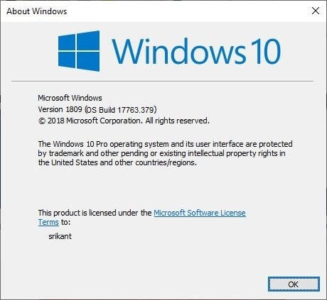 версия для Windows 10 17763.379