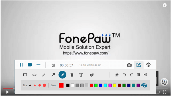 Опции FonePaw Screen Recorder