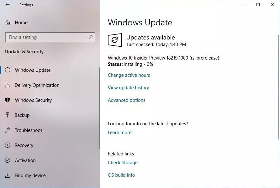 Windows 10 Insider Preview build 18219