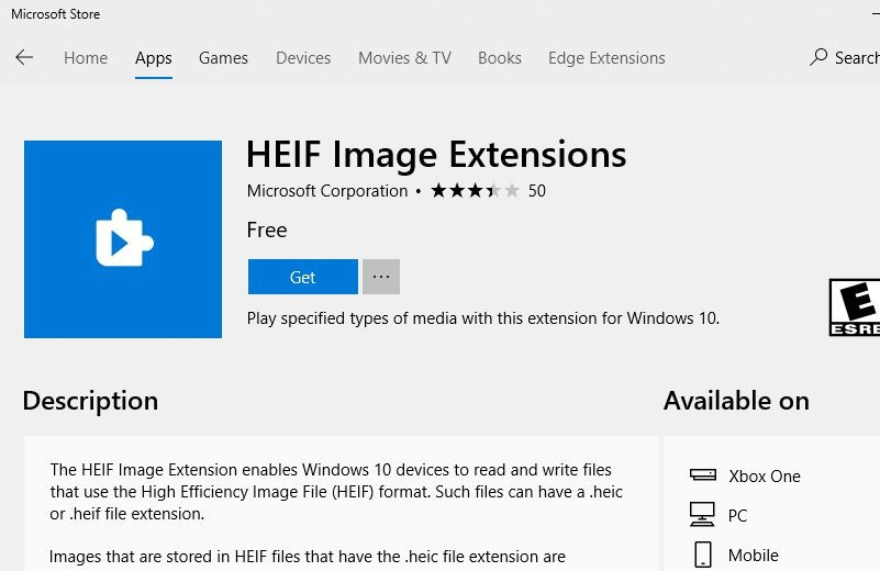 HEIF Image Extension