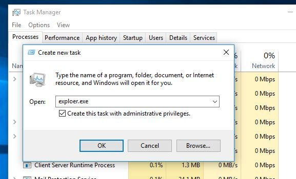 Запустить Windows Explorer из Taskmanager