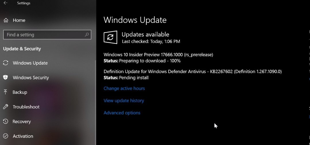 Windows 10 Insider Preview Build 17666